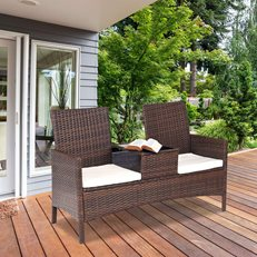 Wicker Loveseat, Outdoor Furniture, Outdoor Loveseat Tangkula ,