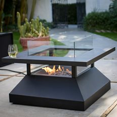 Sleek Fire Table, Modern Fire Pit Red Ember ,