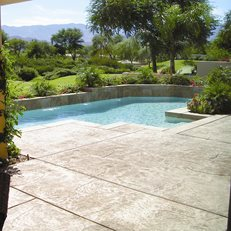 Stamped Concrete Pool Deck Garden Design Calimesa, CA