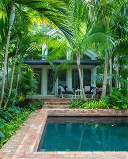 brick tropical pool garden design calimesa ca - Garden Home Designs