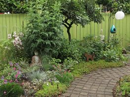 "01_paver_walkway_through_back_garden ""Dream Team's"" Portland Garden Tamara Paulat (Homeowner) Portland, OR"