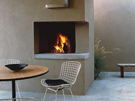 "Open-Corner Fireplace ""Dream Team's"" Portland Garden Trey Jordan Architecture Santa Fe, NM"