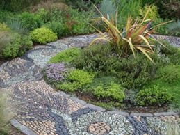 "Pebble Mosaic Walkways  ""Dream Team's"" Portland Garden Garden Design Calimesa, CA"