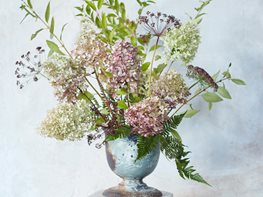 Flower Arrangement, Hydrangea, Forsythia, Ferns Garden Design Calimesa, CA