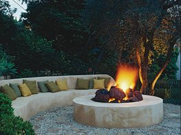 Lava-Rock Fireplace Jeff Andrews - Design Los Angeles, CA