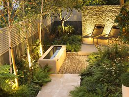 Dry Stone Wall, Water Tough, Small Garden Daniel Shea Contemporary Garden Design Norfolk, UK