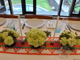 Holiday Centerpieces: Lush Juniper and Carnation Bouquets Garden Design Calimesa, CA