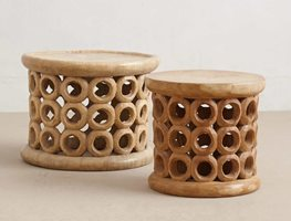 Wood Stool, Bamileke Stool Garden Design Calimesa, CA