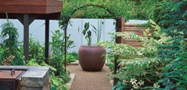 Small Garden, Vietnamese Urn Minor Miracles: Jewel Box Mosaic Gardens Eugene, OR