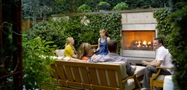 Small Garden, Garden Fireplace Scot Eckley Inc. Seattle, WA