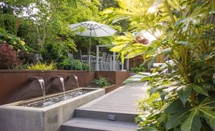 Etonnant Outdoor Dining Terrace, Canopy Of Trees Small Garden Pictures Garden Design  Calimesa, CA