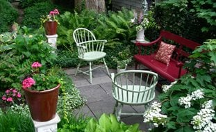 Garden Ideas white bicycle planterthese are the best garden diy yard ideas Small Garden Big Interest Eric Sternfels Homeowner Philadelphia Pa