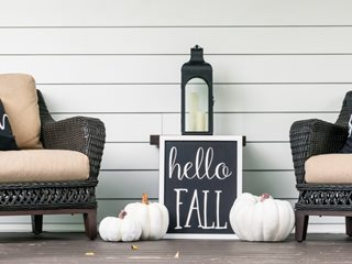 Black & White Fall Porch, Fall Sign, Lantern Shutterstock.com New York, NY