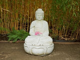 Sitting Budha Statue, Budha And Bamboo Garden Design Calimesa, CA