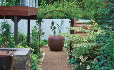 Good Small Garden, Vietnamese Urn Minor Miracles: Jewel Box Mosaic Gardens  Eugene, OR