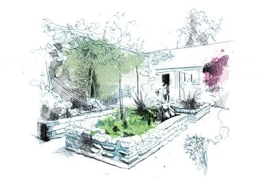 "Raised Planters Drawing ""Dream Team's"" Portland Garden David Despau ,"