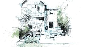 Backyard Patio Drawing David Despau , Landscape Design ...