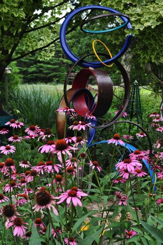 "07_circle_sculpture__echinacea_pampenick_bedrockgardens ""Dream Team's"" Portland Garden Garden Design Calimesa, CA"