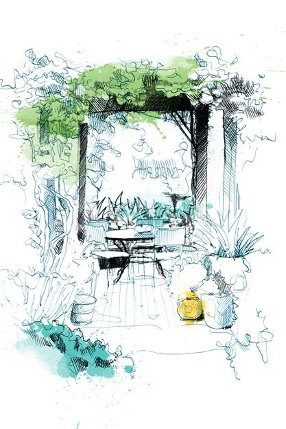 garden arbor drawing david despau - Garden Design Drawing