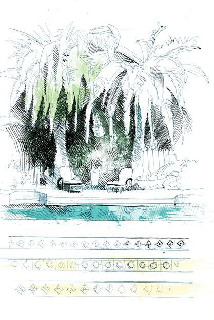 Garden Design Com garden arbor drawing david despau Mediterranean Steps Drawing David Despau