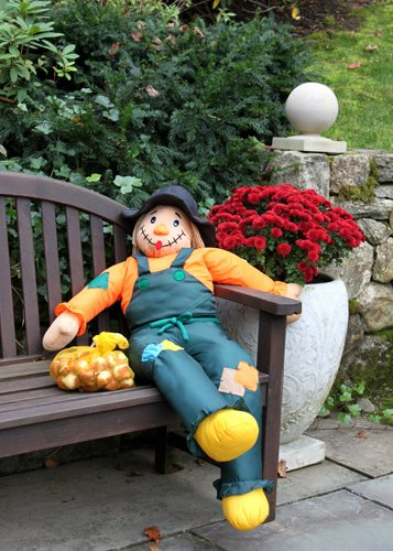 Scarecrow On Bench Garden Design Calimesa, CA