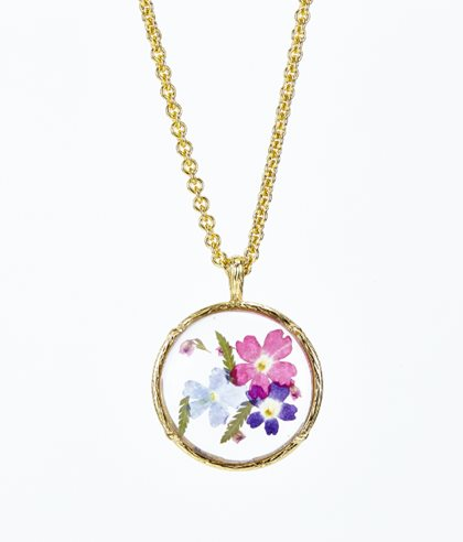 Flower Necklace, Pressed Flowers, Pendant Erwin Pearl New York, NY
