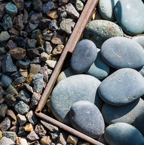 Mexican Pebbles, Gravel, Steel Edging Lillyvilla Gardens Portland, OR