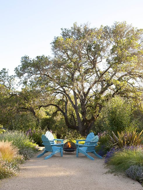 Chairs And Fire Pit, Rustic Setting, Blue Chairs, Fire Pit Garden Design Calimesa, CA