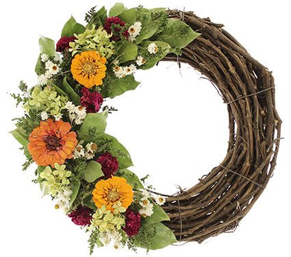 Fall Décor, Wreath, Zinnias From-the-Garden Wreaths for Holiday Decorating: Slideshow Garden Design Calimesa, CA