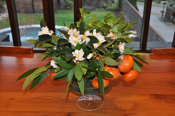 Holiday Centerpieces: Bay Leaves, Persimmons, and Camellias Garden Design Calimesa, CA