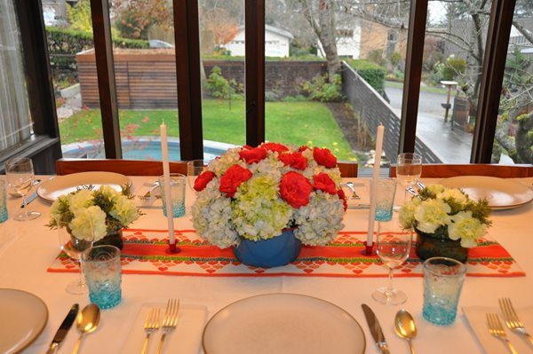 Holiday Centerpieces: Hydrangeas and Roses Garden Design Calimesa, CA