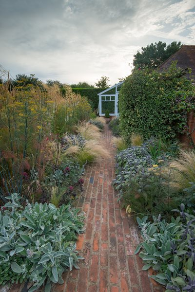Red Brick Path, Foliage Landscape Design Pictures Daniel Shea Contemporary Garden Design Norfolk, UK