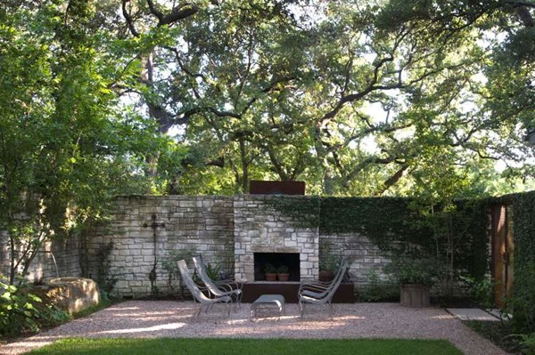 Pea Gravel Patio, Stone Fireplace Residential Retreat In Austin Ten Eyck Landscape  Architects Austin, Nice Design