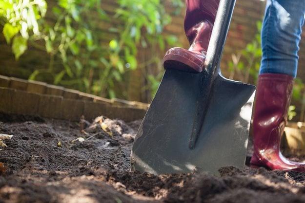 """Agujero de excavación, pala en tierra""""Equipo de ensueño"""" Portland Garden Shutterstock.com Nueva York, NY"""