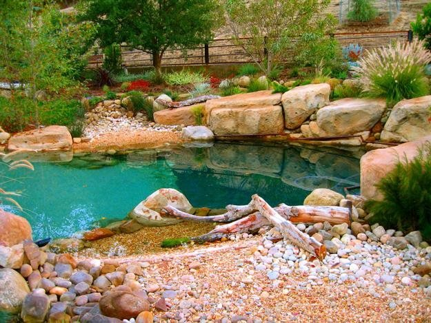 Natural style poolscape garden design for Natural garden designs