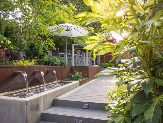 Backyard Dream Meaning : outdoor dining terrace canopy of trees dream teams portland garden