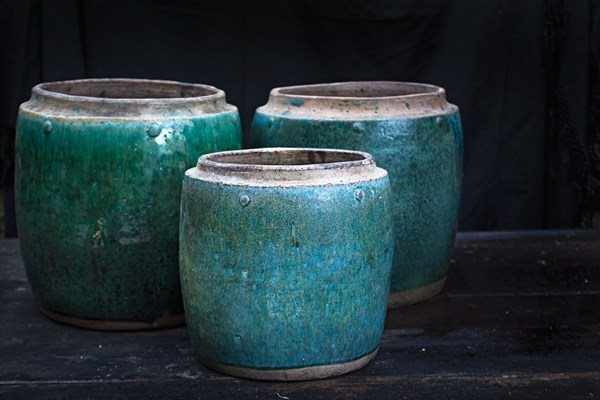 Green Glazed Boreno Pots Garden of Curiosities, Photo Gallery Garden Design Calimesa, CA