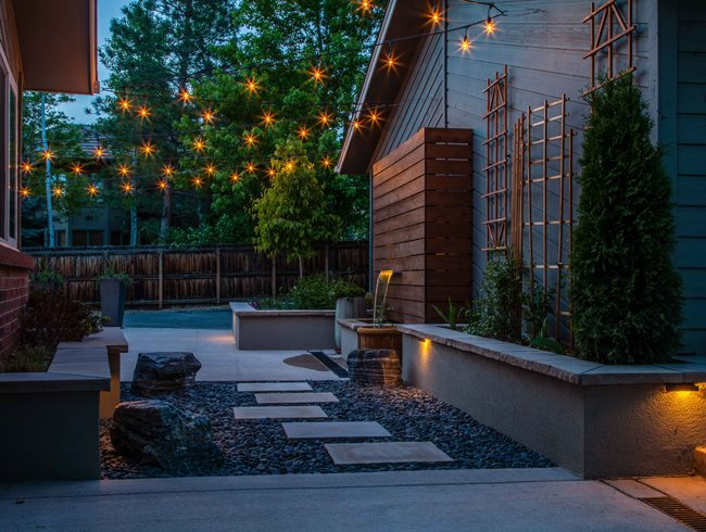 Garden Lighting, Café Lights Andrea Cochran Landscape Architecture San Francisco, CA