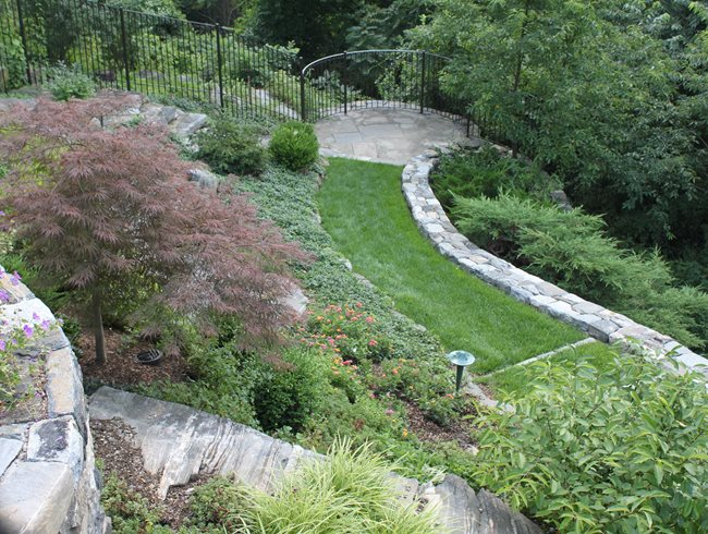 Garden Overlook, Grass Path Johnsen Landscapes & Pools Mount Kisco, NY