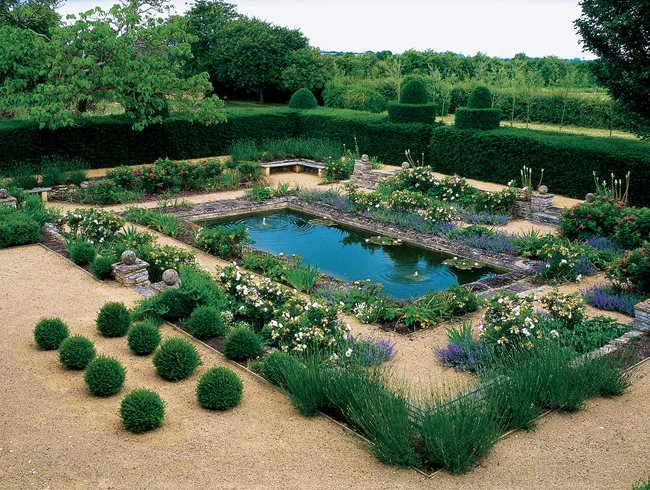 British naturalistic planting garden design for English garden pool
