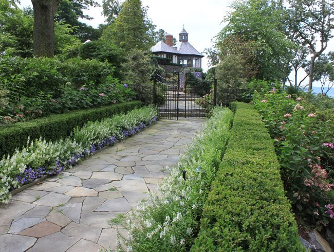 garden promenade flower border johnsen landscapes pools mount kisco - Garden Landscaping Design