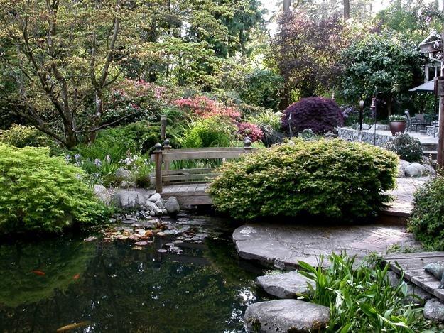 Garten, Frühling Robin Hopper (Hausbesitzer) Metchosin, British Columbia