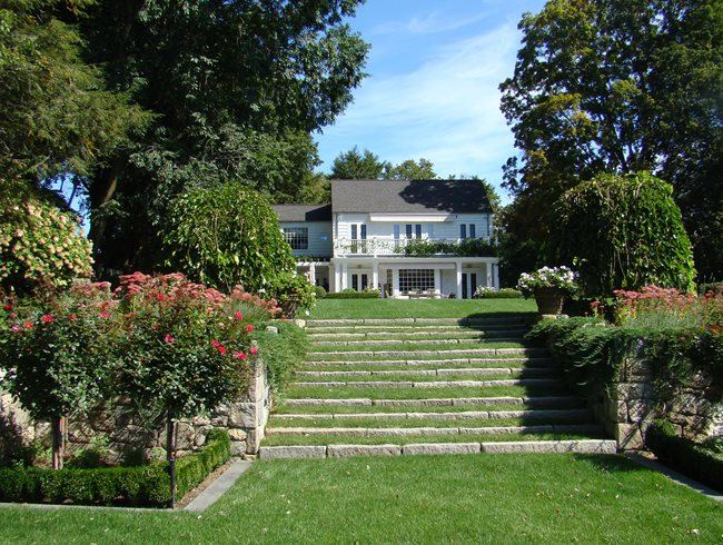 Garden Stairs, Red Roses, Large House Johnsen Landscapes & Pools Mount Kisco, NY