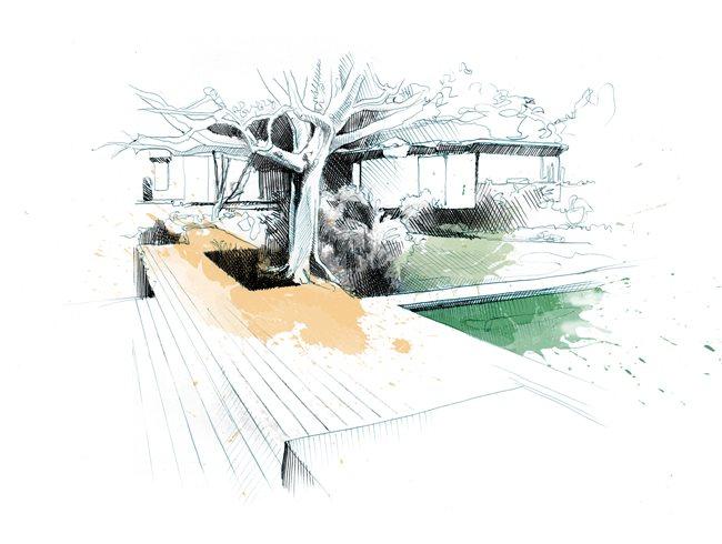 Garden Design Com 05 barden residence miller steps garden design calimesa ca designing a contemporary garden with warmth Pool Drawing David Despau