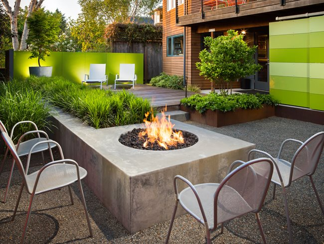 small garden fire pit modern garden scot eckley inc seattle wa - Garden Design Ideas