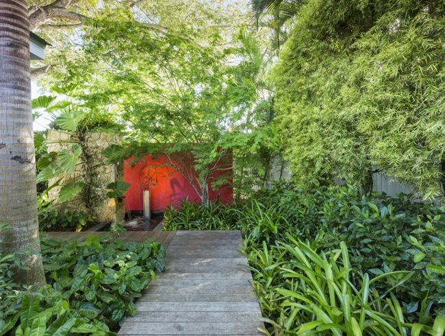 Tropical Walkway, Red Wall, Craig Reynolds Design Garden Design Calimesa, CA