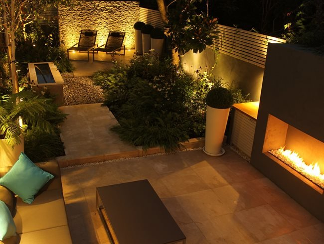 Outdoor Fireplace, Evening Garden Daniel Shea Contemporary Garden Design Norfolk, UK