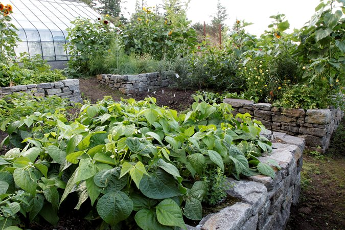 raised bed design stacked stone photo by susan seubert