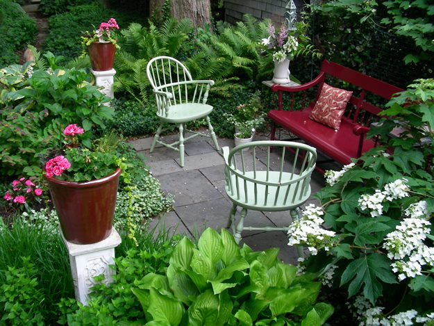 Small Gardens Ideas pic neat small garden design with seat in gazebo lawn border and peps Small Garden Big Interest Eric Sternfels Homeowner Philadelphia Pa