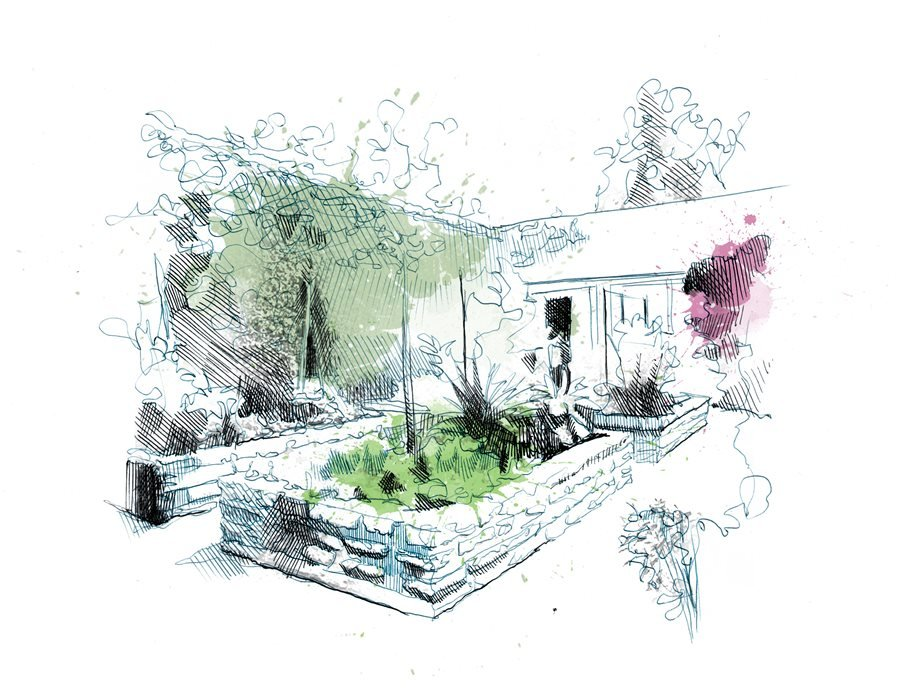 raised planters drawing dream teams portland garden - Garden Design Drawing